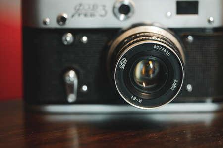 Foto de Bucharest, Romania - April 7, 2020: Details and shallow depth of field image (selective focus) with the F3 Ukrainian rangefinder vintage photo camera. - Imagen libre de derechos