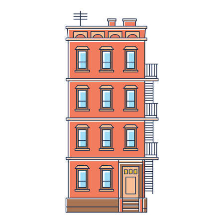 Foto de vector illustration - new york united states red brick old building with stairs isolated vintage on white background - Imagen libre de derechos