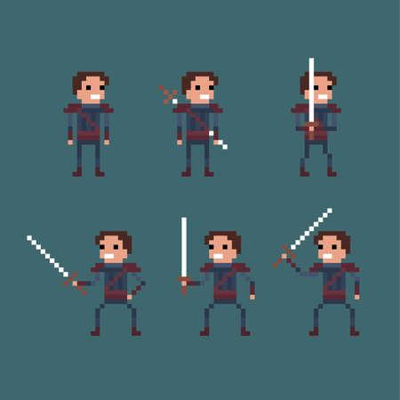 Illustration pour Vector pixel art fantasy kingdom swordsman warrior sprite isolated set - image libre de droit