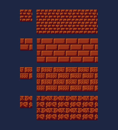 Illustration for Vector illustration - set of 8 bit 16x16 red brick texture. Pixel art style game background seamless pattern brown isolated - Royalty Free Image