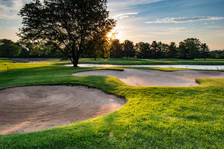 golf course bunkers in the late afternoon