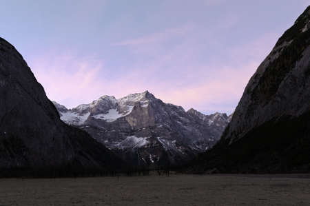 Scenic view of natural reserve Ahornboden in Austria before sunrise