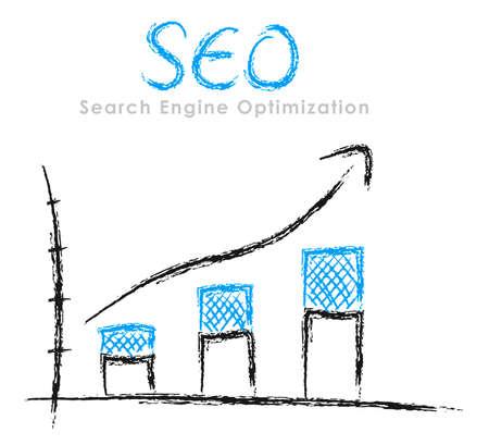 Photo pour Hand-drawn finance statistics with arrow: Search Engine Optimization - image libre de droit