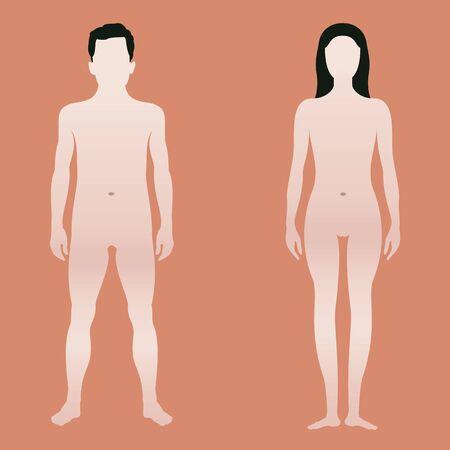 Illustration pour Body shape of man and woman - image libre de droit