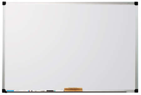 Modern whiteboard isolated on white background, with space for text