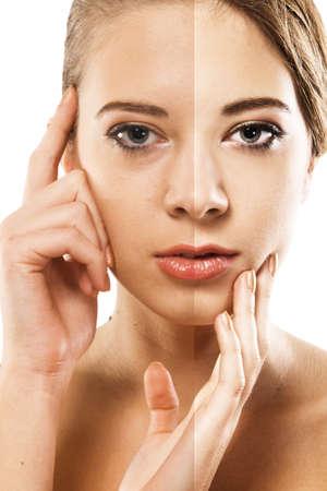 Photo pour Woman's face correction. Closeup portrait half-and-half - image libre de droit