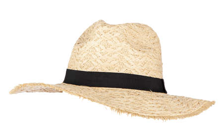 Photo pour Summer straw hat isolated on white - image libre de droit