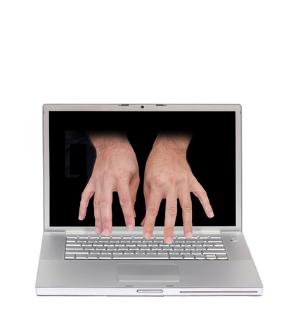concept image of a laptop with two hand typing from inside the screen