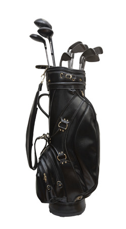 Photo for Golf clubs in a black leather bag  isolated on white background - Royalty Free Image