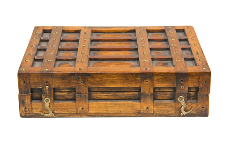 Vintage wooden box isolated over white