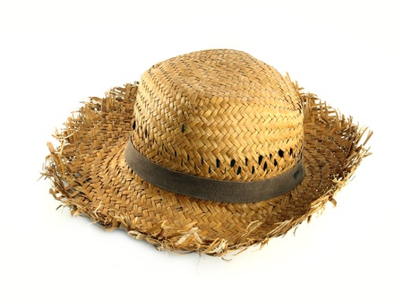Straw hat on white background