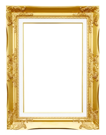 Photo for golden frame picture on white background - Royalty Free Image