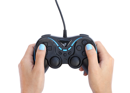hands with gamepad isolated on white background (clipping path)