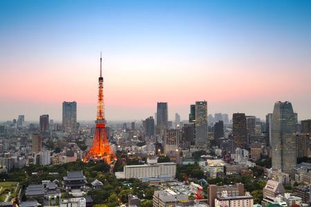 Tokyo city skyline at sunset in Tokyo, Japan. (HDR - high dynamic range)