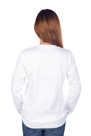 Photo pour woman in white long sleeve t-shirt isolated on a white background (back side) - image libre de droit