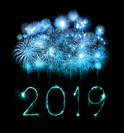 Photo for 2019 happy new year written with Sparkle firework - Royalty Free Image
