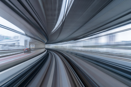 Photo pour moving motion blur of train running on tunnel in Tokyo, Japan - image libre de droit