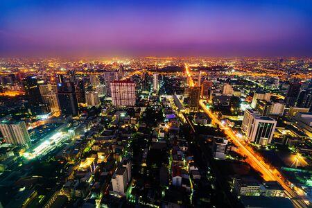 Foto für Bangkok city downtown and road traffic at sunrise in Thailand , Cityscape - Lizenzfreies Bild