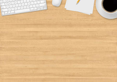 Photo pour Top office table with cup of coffee, papers, pencil, mouse and keyboard - image libre de droit
