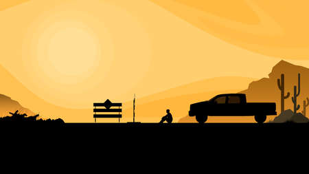 Silhouette. Road closed, dead end, man sitting on the ground on orange background