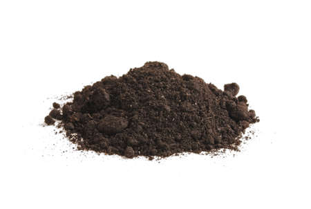 Photo pour Heap of soil humus, isolated on white background. Pile of black earth. - image libre de droit