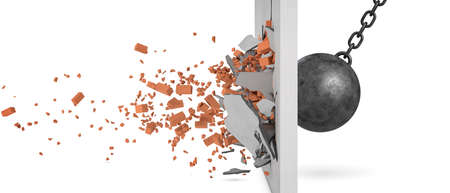 Photo pour 3d rendering of a large swinging wrecking ball crashing at a brick wall with pieces from the wall flying away in side view. - image libre de droit