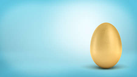 Photo for 3d rendering of a whole golden egg with metallic reflection on blue background. - Royalty Free Image