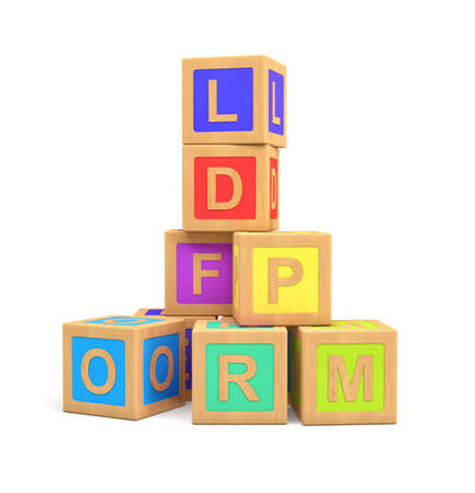 Foto de 3d rendering of colorful toy blocks with different English letters isolated on a white background. - Imagen libre de derechos