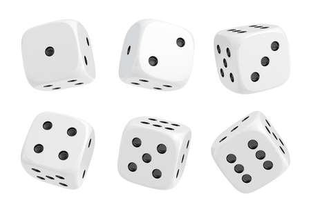 Photo pour 3d rendering of a set of six white dice with black dots hanging in half turn showing different numbers. - image libre de droit