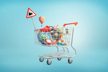 3d rendering of shopping cart filled with such things as an Earth globe, phone, iron ball, piggy bank, golden egg and clock inside.