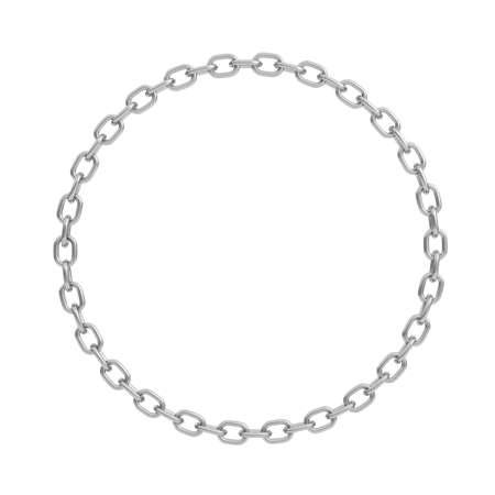 Photo pour 3d rendering of a polished steel chain made in shape of a perfect circle on a white background. - image libre de droit