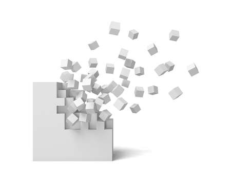 Foto de 3d rendering of a white square on a white background starting to get destroyed piece by piece. - Imagen libre de derechos