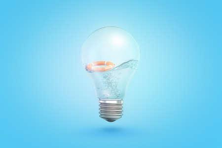 Photo pour 3d rendering of transparent light bulb with liquid and orange lifesaver inside on blue background - image libre de droit