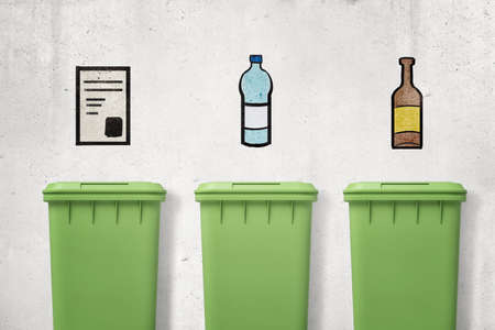 Photo pour 3d rendering of three green trash cans with drawings of paper, plastic and glass on wall above them showing which can is for which type of waste. - image libre de droit