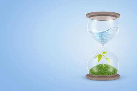 Photo pour 3d rendering of an hourglass with water in its upper part dripping down to the lower part which contains a green sprout. - image libre de droit