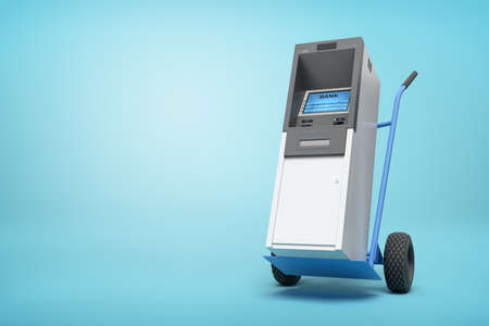 Photo pour 3d rendering of blue hand truck with grey and white ATM on top on light-blue background with copy space. - image libre de droit