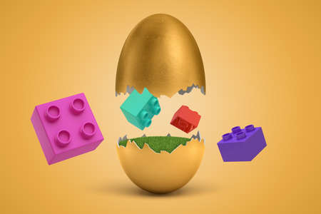Photo pour 3d rendering of colorful toy bricks flying around broken golden egg from which they have hatched. - image libre de droit