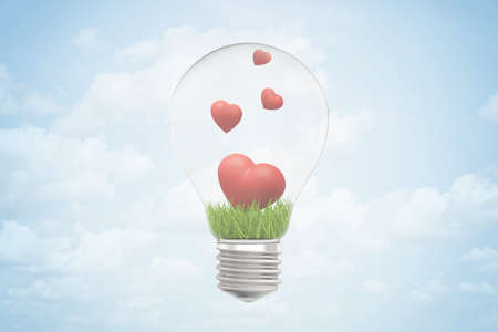 Photo pour 3d closeup rendering of lightbulb and green grass and four cute red hearts inside it, against blue sky with clouds. - image libre de droit