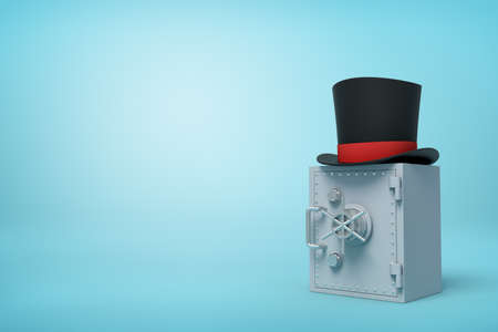 Photo pour 3d close-up rendering of closed grey metal safe with black top hat on top on light-blue background with copy space. - image libre de droit