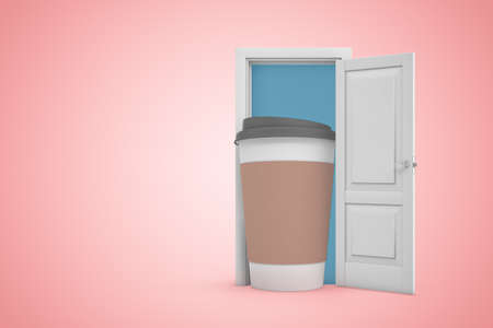 Photo pour 3d rendering of open door on gradient pink background and big cofee paper cup standing in doorway. - image libre de droit