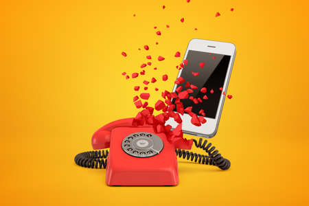 Photo pour 3d rendering of red wire line phone breaking in pieces and white modern smartphone behind it on amber background. - image libre de droit
