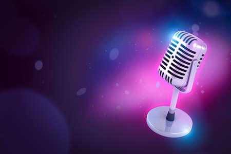 Photo pour 3d close-up rendering of shiny metal microphone on purple bokeh background with copy space. - image libre de droit