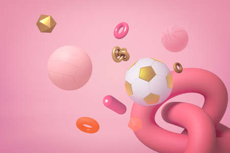 Photo for 3d rendering of miscellaneous objects and shapes floating on pastel pink background. - Royalty Free Image
