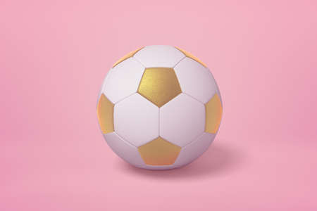 Photo for 3d rendering of golden white football ball on pink background - Royalty Free Image