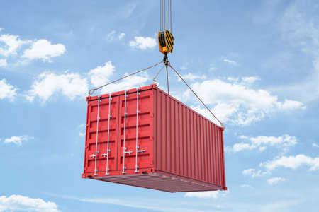Photo for 3d rendering of closed red shipping container suspended from crane against blue sky with white clouds. International shipping trade. Intermodal freight transport. Global trade. - Royalty Free Image