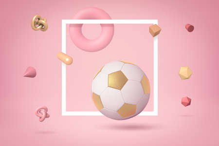 Photo for 3d rendering of white and gold football highlighted with white frame, floating on yogurt pink background, with lots of different objects floating around. Shapes and objects. Leisure and hobbies. - Royalty Free Image