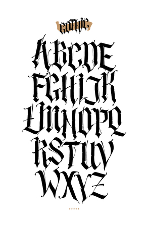 Ilustración de Gothic, English alphabet. Vector set. Font for tattoo, personal and commercial purposes. Elements isolated on white background. Calligraphy and lettering. Medieval Latin letters. - Imagen libre de derechos