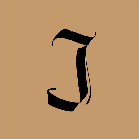 Ilustración de Letter J, in the Gothic style. Vector. Alphabet. The symbol is isolated on a golden background. Calligraphy and lettering. Medieval Latin letter. Logo for the company. Monogram. Elegant font for tattoo. - Imagen libre de derechos
