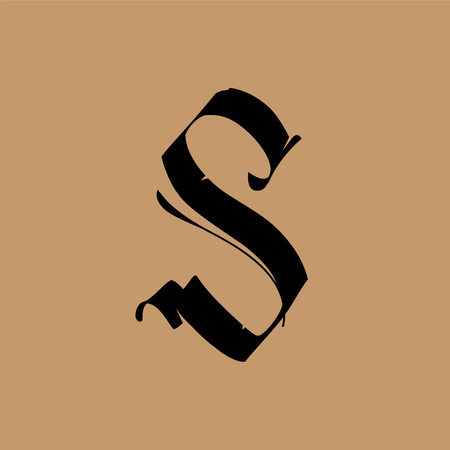 Letter S, in the Gothic style  Vector  Alphabet  The symbol