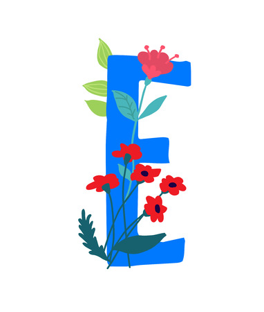 Illustration pour Illustration of the letter E in plants and flowers. Vector. Monogram for banner, greeting card. Composition of bouquets and plants, herbarium. Cartoon style. The image of summer and spring. Pattern for clothes. - image libre de droit
